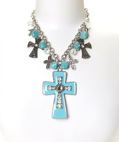 Loving this Silver & Turquoise Cross Charm Necklace on #zulily! #zulilyfinds