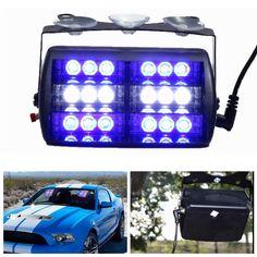 [US$11.89] 5W 18LED Strobe Light Bar Car Emergency Flashing Lamp Suction Cup Mount Blue White  #18led #blue #emergency #flashing #lamp #light #mount #strobe #suction #white