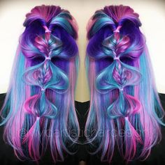Rainbow hair is definitely one of the most eye-catching trends, but theres just something about a multi-color braid that makes you want to stare for hours. Here are 10 rainbow braids youre totally going to love. Rainbow Braids, Rainbow Hair, Pretty Hair Color, Hair Dye Colors, Bright Hair, Dream Hair, Pretty Hairstyles, Hair Inspiration, Hair Makeup
