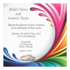 Elegant Swirling Rainbow Splash Invite - 3: Rainbow Splash & Wedding Rings Matching Wedding Set  #lgbtq #gaymarriage #gaywedding