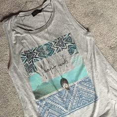Tribal Graphic Tank Top Hi-low style. Loose fit. NWOT Poolhouse Tops Tank Tops