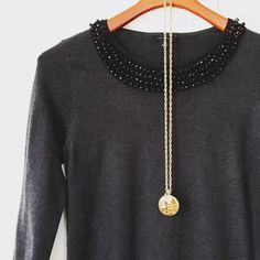 Ann Taylor beaded lightweight knit Classic light sweater/top from Ann Taylor. Beaded collar. In very good condition. Ann Taylor Tops
