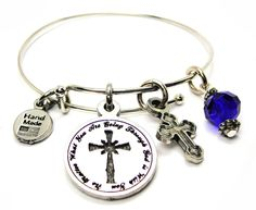 "No Matter What You Are Going Through God Is with You with Engraved Cross Single Stacker Bracelet in Sapphire Blue. Single Style Bangle. 100% Genuine American Pewter Charm. Will arrive in a 100% recycled materials gift box. ChubbyChicoCharms exclusive design expands from 7""-8"". Hand Made in USA."