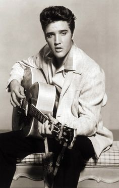 Framed Print  Elvis Presley With Guitar (Picture Poster Rock And Roll Singer)