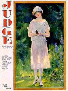 1925 Judge magazine cover showing a bit of a garden with lovely blue delphiniums.