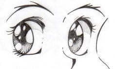 Esboço de caderno de um olho de mangá, técnica com lápis grafite.