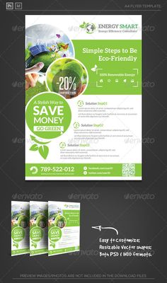Renewable Green Energy Saving Flyer Templae. - Energy Solution and System Bulding. Green house and Business solution.