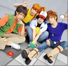 COSPLAY~★ 'costume play' character costume--!••• Brock, Misty, Ash, and Gary Oak from 'Pokemon'