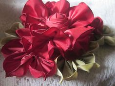 French-Ombre-Millinery-Ribbon-Flower-Pin-Ribbon-work-Corsage-Red-Hat-Ladies