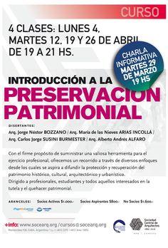 """SCA   INTRODUCCIÓN A LA PRESERVACIÓN PATRIMONIAL  La Sociedad Central de Arquitectos abre la inscripción al curso, """"Introducción a la preservación Patrimonial"""", cuya charla informativa se realizará el martes 29 de marzo en la Sede de Montevideo 938, CABA.  Más info: http://ly.cpau.org/1ShY40j  #AgendaCPAU #ActualizaciónProfeisonal #RecomendadoArq"""