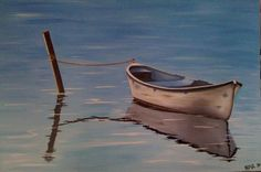 Oil paintings of Boats Reflected in Water. $300.00, via Etsy.