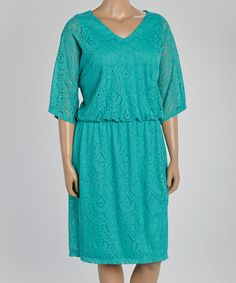 Another great find on #zulily! Mint Lace Blouson Dress - Plus by London Times #zulilyfinds