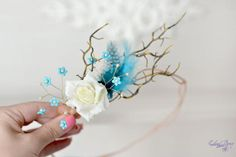 Blue feather crown rustic head wreath branches head piece