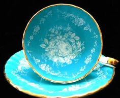 Vintage Ansley Teacup Bone China Made in England Turquoise Rose 1930s.