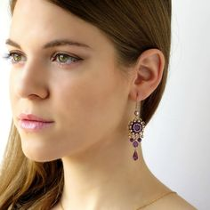 Pendientes de amatista pendientes de araña púrpura púrpura