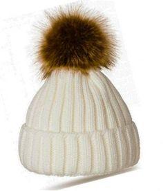 New Women Ladies Warm Real Farm Raccoon Fur Ball Knitting Ski Cap Pompom Hat (2)