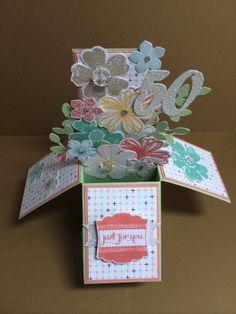 Card in box Stampin up DSP Sweet sorbet Flower shop stamp set Petite petals stamp set