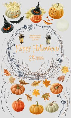 Halloween watercolor clipart Autumn clipart Pumpkin Autumn