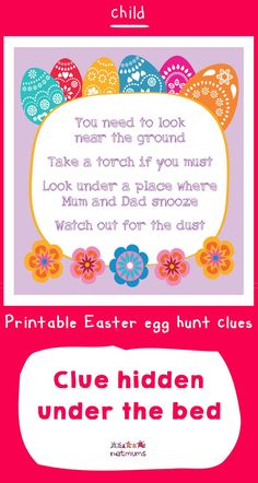 Looking for inspiration for Easter egg hunt clues? We've got some great ones that will take your kids on an exciting trail to find the ultmate prize of . Easter Egg Hunt Clues, Easter Eggs, Happy Easter, Free Printables, Board, Inspiration, Ideas, Happy Easter Day, Biblical Inspiration