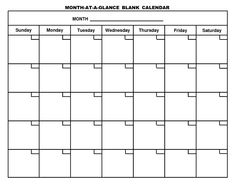 Month At A Glance Blank Calendar | Monthly Printable Calender regarding Month At A Glance Blank Calendar Template