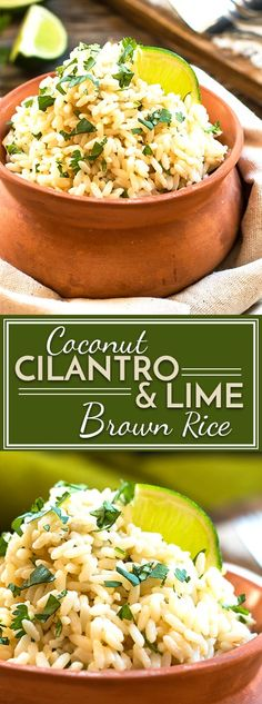 Coconut Cilantro Lime Brown Rice – Made in a Rice Cooker A cilantro lime brown rice recipe made with coconut milk for added flavor! This easy Mexican rice can be made in a rice cooker or on the stove top. Mexican Rice Recipes, Brown Rice Recipes, Rice Recipes For Dinner, Vegetarian Recipes, Healthy Recipes, Free Recipes, Party Recipes, Coconut Milk, Clean Dinners