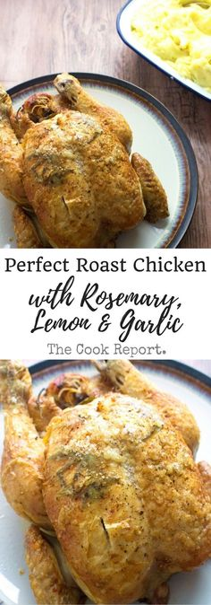 This deliciously succulent roast chicken is flavoured with rosemary, lemon and garlic. Rub the skin with butter and salt to get it extra crispy! Roast Chicken Recipes, Healthy Chicken Recipes, Turkey Recipes, Lunch Recipes, Meat Recipes, Dinner Recipes, Cooking Recipes, Slow Roast Chicken, Roast Chicken Seasoning