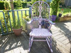 Bespoke upcycled fiddle back rocking chair. firstly painted with two coats of under coat then hand decopatched by me with two different designs of decopatch paper mainly pink and blue and than varnished with two to three coats of varnish to make the chair water resistant and hard wearing.    117cm height x 63cm width x 85 cm depth.    Jelubee designs and produces bespoke and one-off furniture pieces primarily through up-cycling antique or vintage items. I can also up-cycle furniture items…
