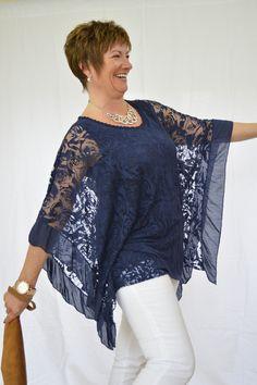 Floral Net Batwing Top – Mandys Heaven - Womens Fashion Boutique, Fashion Over 40 Fashion Over 40, 50 Fashion, Fashion Sewing, Look Fashion, Plus Size Fashion, Fashion Outfits, Womens Fashion, Fashion Trends, Batwing Top