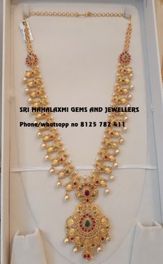 Simple designs are forever. Presenting here a very beautiful Long haaram 110 gm Gwt studded with fine quality Uncut Diamonds. Made with perfect finishing. Visit for full variety. Contact no 8125 782 411 . Jewelry Design Earrings, Gold Earrings Designs, Gold Jewellery Design, Necklace Designs, Gold Haram Designs, Gold Designs, Gold Chain Design, Bridal Jewelry, Pearl Jewelry