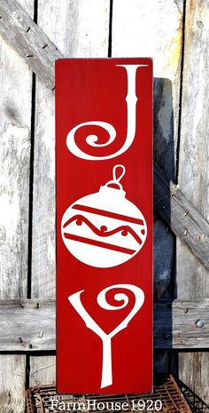 LARGE Christmas Sign, Joy Plaque, Christmas Decorations Outdoor Porch Decorating Ideas, Yard House Signs, Rustic Holiday Decor Outside Art