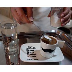 Kız isteme törenimde sevgilime ikram edeceğim kahve için hazırladığım fincan. Oluşturduğum bıyık kalıbı ve Koçtaş'tan aldığım porselen kalemiyle oldukça kolay hazırladım. :) Engagement, Tableware, Photography, Wedding, Pictures, Weddings, Basteln, Valentines Day Weddings, Dinnerware