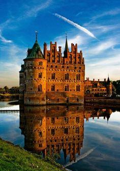 Egeskov Castle. 1805 birthplace of fairy tale author Hans Christian Andersen. Funen, Denmark.