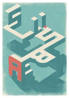 Beautiful type illustration via Slumberbean