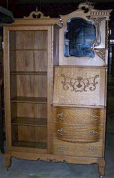I want to get an antique side by side like this one. I would use the desk side as a bar and the display side as a liqueur cabinet / china cabinet. Victorian Furniture, Victorian Decor, French Furniture, Victorian Homes, Vintage Decor, Antique Furniture, Furniture Styles, Home Decor Furniture, Cool Furniture