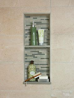 Add a shelf to your shower niche to double up on storage capacity.
