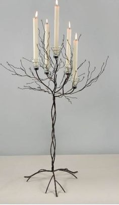 Metal Twig Tree Candle Holder two trees. 2 candleholders / with candles holds 5 taper candles or votive candles sold separ. Crystal Tree, Crystal Ball, Twig Tree, Votive Candles, Candle Sticks, Save On Crafts, Candle Holder Set, Tree Lighting, Christmas Candles