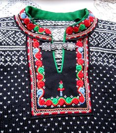 """Vintage """"Setesdal-kofte"""" – Norwegian Setesdal sweater – embroidery and hand knit Learn How To Knit, How To Wear, Norwegian Style, Play Clothing, Folklore, Norwegian Knitting, Best Wear, Vintage Sweaters, Hand Knitting"""