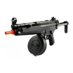 Electric AEG WELL FPS-275 MP5 Airsoft Rifle with Drum Magazine, Collapsible Stock Fully Automatic by MP5 Airsoft Guns. $44.99. Package Includes:      Full Automatic Electric AEG Airsoft Gun     Rechargeable Ni-Cd 350mAh 7.2V Battery     Charger     Gun Sling     Cleaning and Clearing Rod     Starter Pack of BB's. Save 31% Off!
