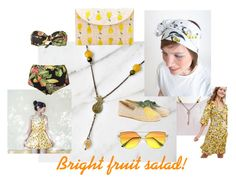 Bright fruit salad!  How to style PetiteFraise's Pineapple necklace, featuring Fils de Rêves' fruity head turban and Carolina Emme's yellow romper #handmade #artisan #madeinitaly #italian #fashion #tropical #boho #chic #summer #jewelry