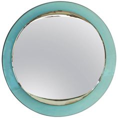 1940s Fontana Arte Round Mirror | From a unique collection of antique and modern wall mirrors at https://www.1stdibs.com/furniture/mirrors/wall-mirrors/