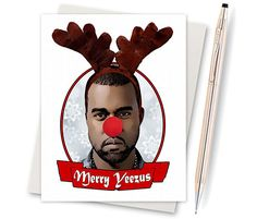 Kanye West  Yeezus  Funny Christmas Card  by InLivingColorStudios