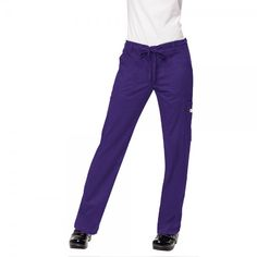 Koi Stretch Lindsey Trousers in Grape. Do you like a more figure hugging scrub trouser leg? then the koi Stretch Lindsey Scrub Trousers are perfect for you. These slim fitting scrub trousers are figure flattering but with an extra stretch for comfort. There are also practical pockets for all your belongings. £29.99   #nursescrubs #dentistuniform #nurses #dentists #purplescrubs