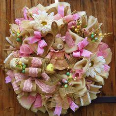 Easter Wreath  Easter Deco Mesh Wreath  by FestivalofWreaths