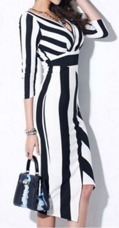 Black and White Striped Plunging Neck 3/4 Sleeve Work Dress #Black #White…