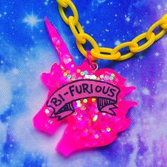Bi Furious Unicorn Resin Necklace LGBT Bisexual by VixieAndMynx, $10.00
