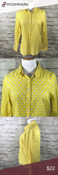 "NWT Crown & Ivory Petite Large Yellow Button Down NWT Crown & Ivory Petite Large Yellow and White Long Sleeve Button Down  This item is gently used with no flaws.  Armpit to Armpit - 20"" Length from back of neck to Bottom - 25"" Sleeve Length - 24"" Made in India Material is 100% Cotton  Inventory - E512"" crown and ivory Tops Button Down Shirts"
