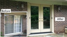 Replace sliding glass patio door with ProVia Heritage fiberglass French door, retractable screen. Chateau color. Before and after shot.