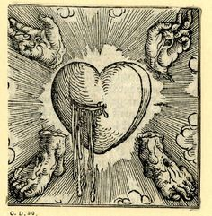 The Five Wounds of Christ.  Woodcut printed by Sigmund Grimm, Augsburg, Germany, 1520.  Found here.