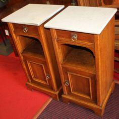 Bedside tables Art Nouveau, oak, 1900 - 84 cm x 40 cm x 37 cm (h x w x d), www. Art Nouveau, Bedside Tables, Coffee Tables, Corner Desk, Furniture, Home Decor, Baby Born, Nightstands And Bedside Tables, Corner Table