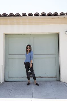 aimee_song_of_style_jw_andserson_bag_black_trousers_blue_sweater_prada_slides_celine_sunnies
